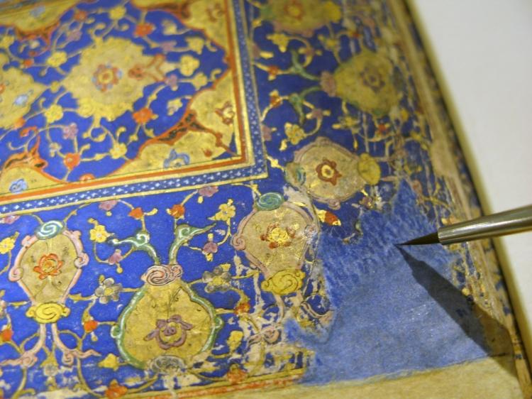 Inpainting media losses in an Iranian illuminated manuscript.