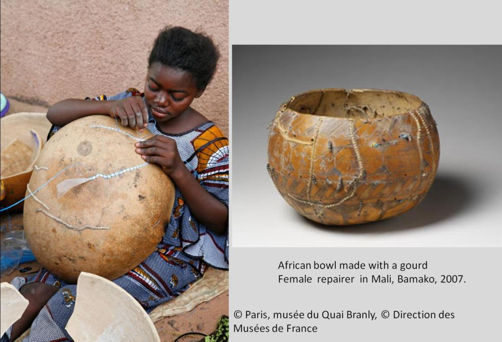 Fig. 4: Female repairer from Mali fixing a calabash bowl, 2007, Musée du Quai Branly.