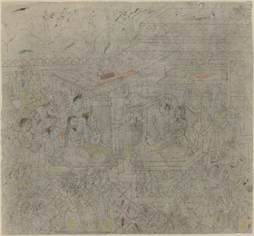 Fig.1 The Coronation of Rama, Kangra, Pahari region, 19th century, (Rijksmuseum AK-MAK 1539).