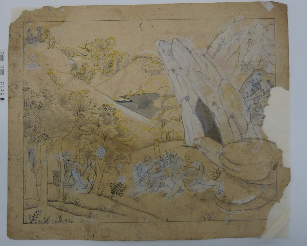 The fight between Sugriva and Vali, a Ramayana episode, preparatory drawing, Kangra, 1800-1830. RV-3025-2