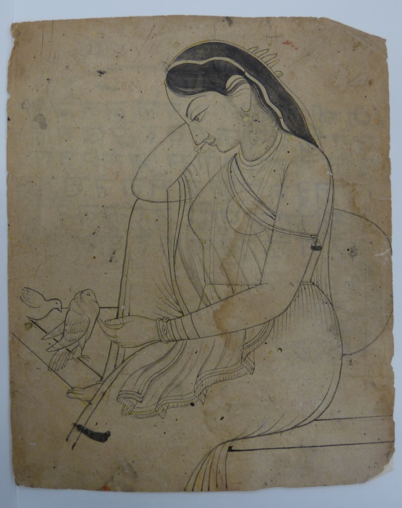 A lonely lady cuddling a dove, Pahari hills, Chamba style, beginning of 19th century. RV-3025-56, Volkenkunde Museum.
