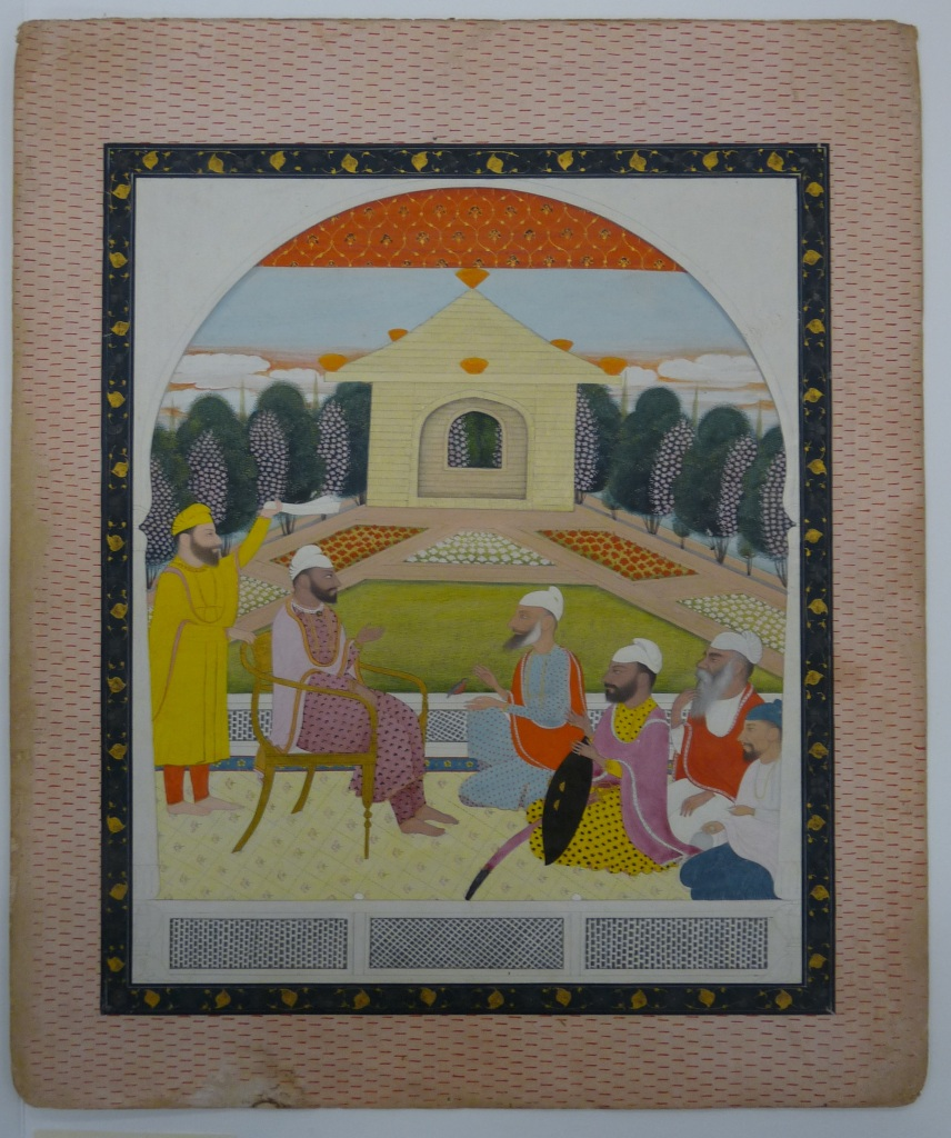 ortrait of the sikh sardar Visava Singh of Sandhawalia, by Chajju, opaque watercolour and gold paint on handmade paper pasteboard. c. 1800-1810. RV-3025-83