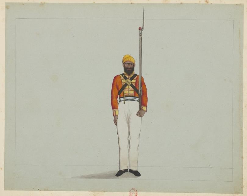 Album factice comprenant dix-neuf miniatures indiennes représentant des costumes militaires, India -1765-1947, Bibliothèque Nationale de France, ESERVE4-ZF-124.