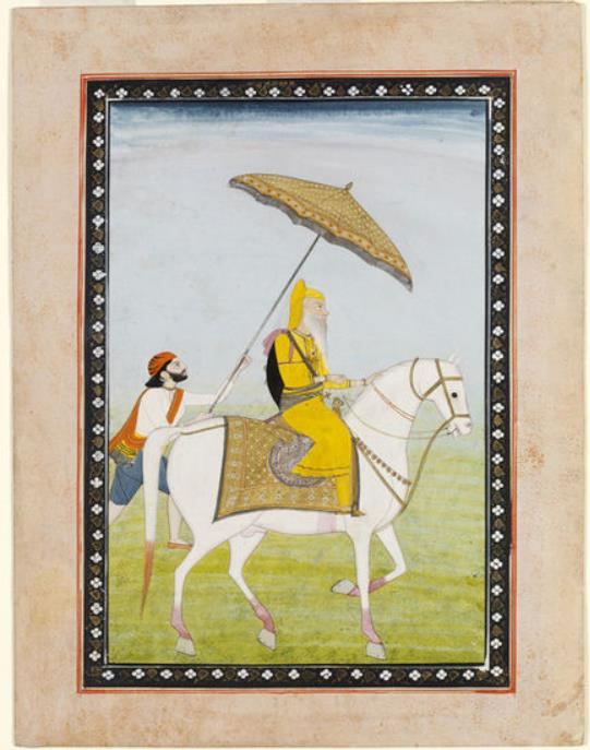 Ranjit Singh (r.1801-1839), the first Sikh maharaja of the Panjab, C. 1835-1840. Victoria & Albert Museum, IS.480-1950.